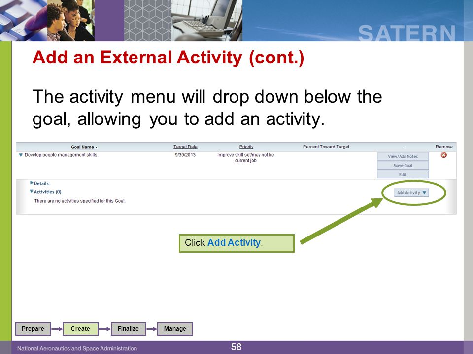 Add an External Activity (cont.) The activity menu will drop down below the goal, allowing you to add an activity.