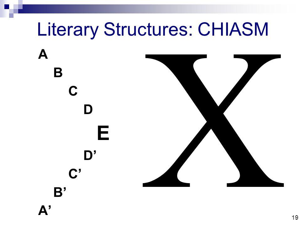 19 Literary Structures: CHIASM A B C D E D' C' B' A' 