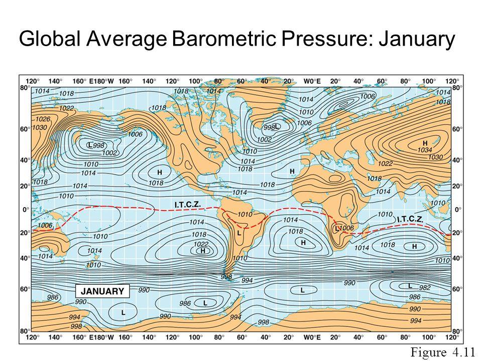 Global Average Barometric Pressure: January Figure 4.11