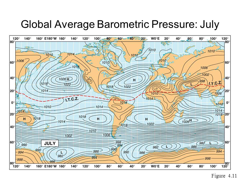 Global Average Barometric Pressure: July Figure 4.11