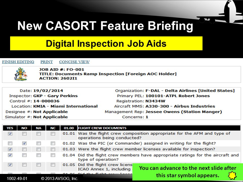New CASORT Feature Briefing Digital Inspection Job Aids © 2013 AVSOG, Inc.
