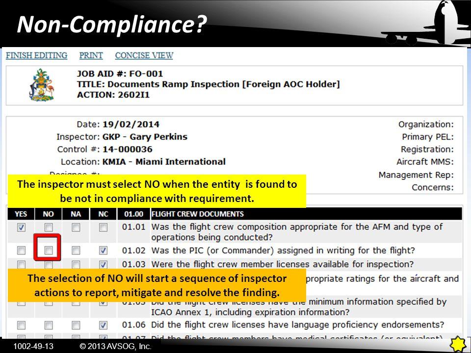 Non-Compliance.