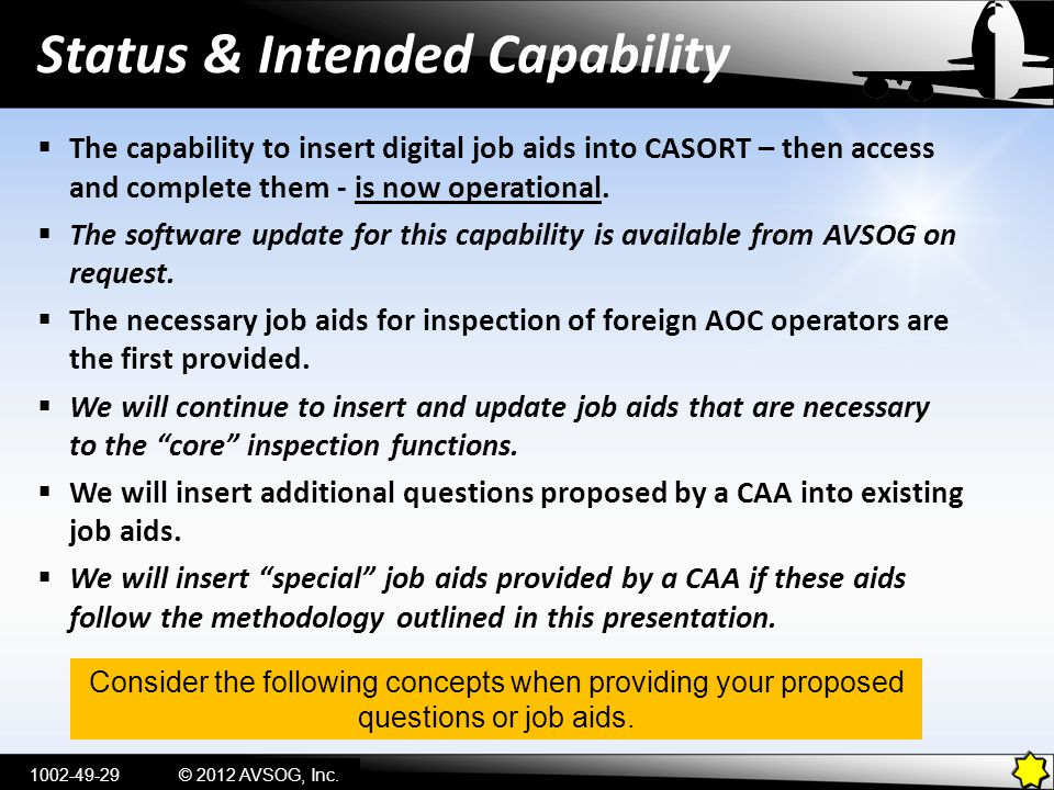 Status & Intended Capability © 2012 AVSOG, Inc.  The capability to insert digital job aids into CASORT – then access and complete them - is now opera