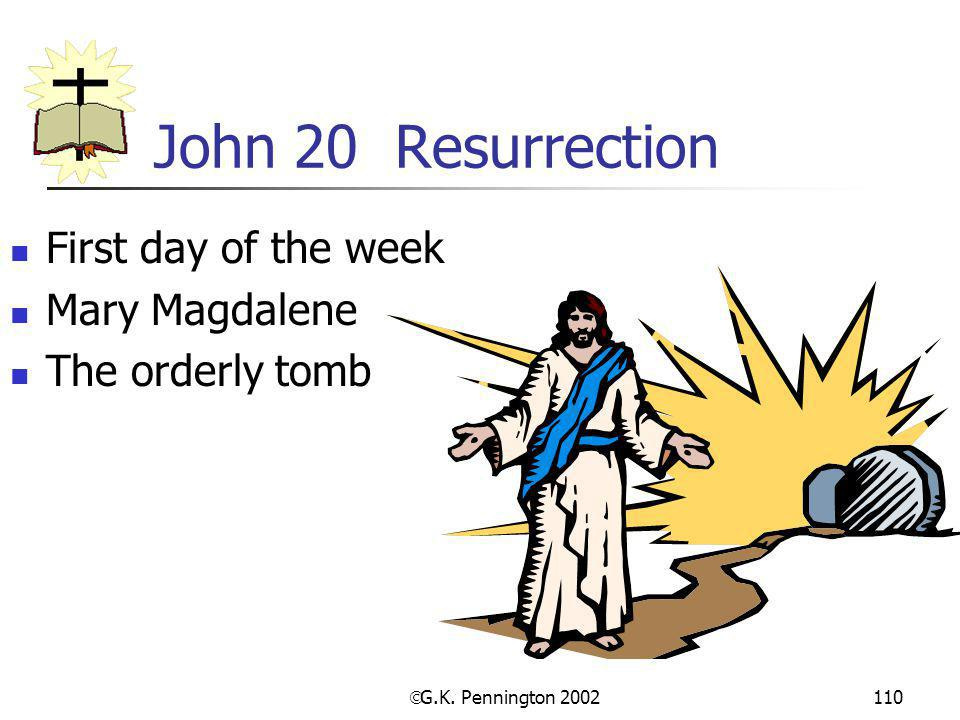  G.K. Pennington 2002 110 John 20 Resurrection First day of the week Mary Magdalene The orderly tomb