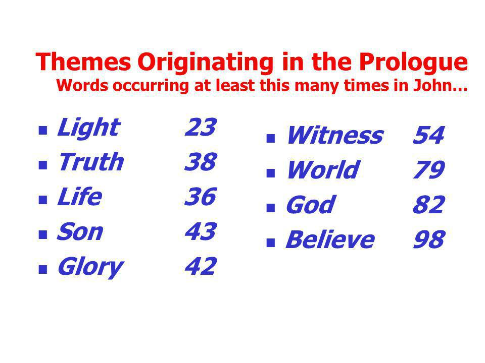 Themes Originating in the Prologue Words occurring at least this many times in John… Light 23 Truth 38 Life 36 Son 43 Glory 42 Witness 54 World 79 God