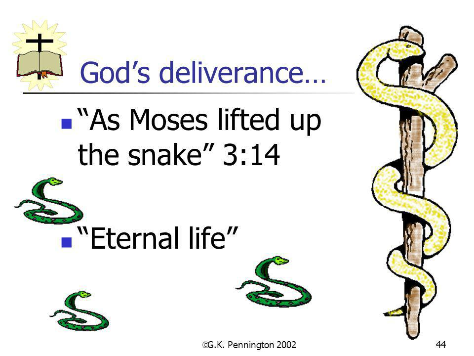 " G.K. Pennington 2002 44 God's deliverance… ""As Moses lifted up the snake"" 3:14 ""Eternal life"""