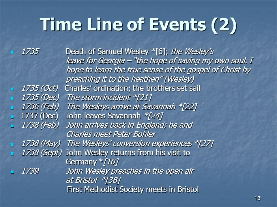 "13 Time Line of Events (2) 1735Death of Samuel Wesley *[6]; the Wesley's 1735Death of Samuel Wesley *[6]; the Wesley's leave for Georgia – ""the hope o"