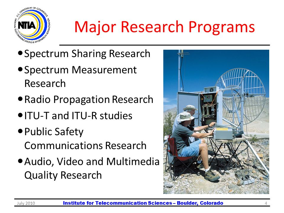 Institute for Telecommunication Sciences – Boulder, Colorado Major Research Programs Spectrum Sharing Research Spectrum Measurement Research Radio Pro