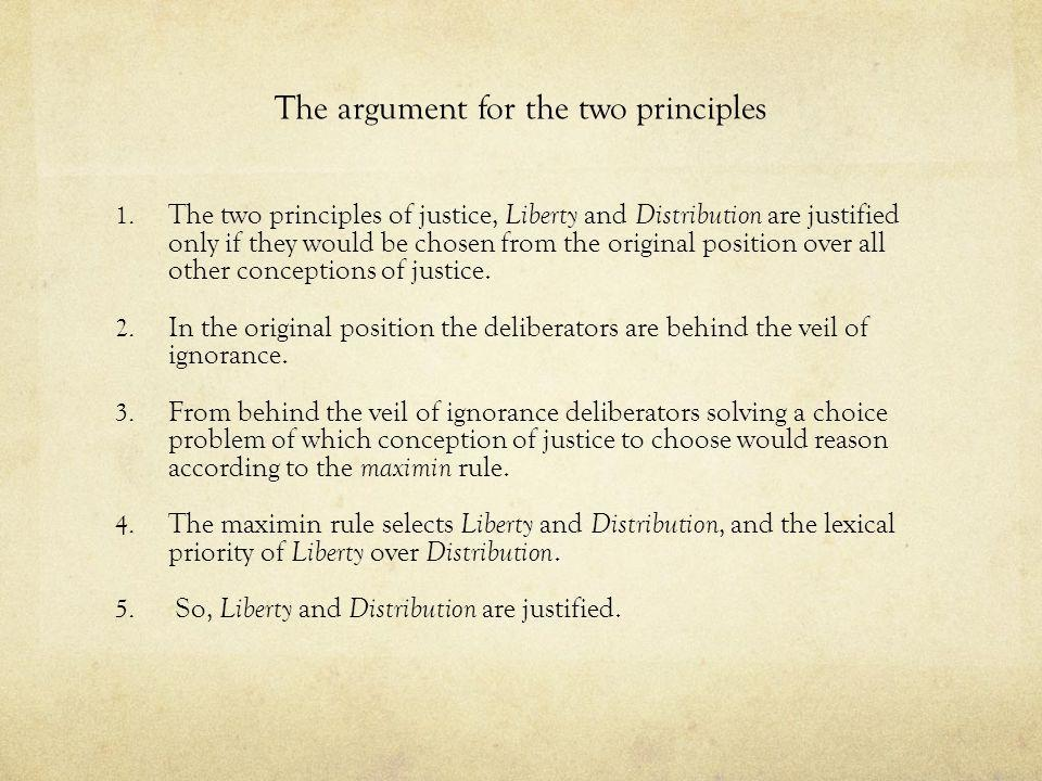 The argument for the two principles 1. The two principles of justice, Liberty and Distribution are justified only if they would be chosen from the ori