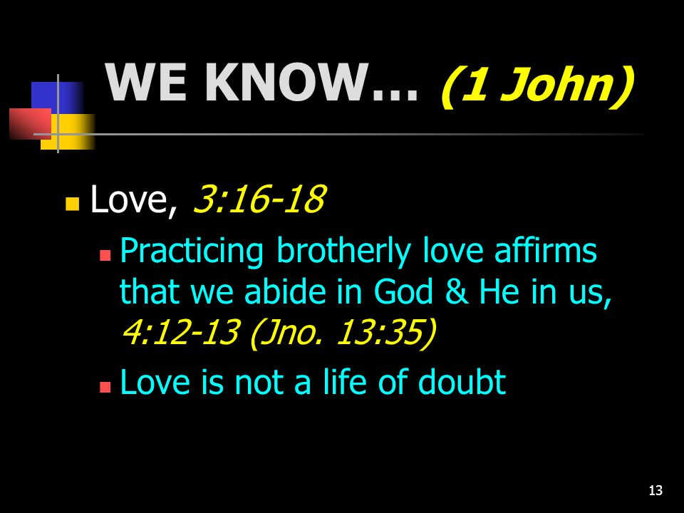 13 WE KNOW… (1 John) Love, 3:16-18 Practicing brotherly love affirms that we abide in God & He in us, 4:12-13 (Jno.