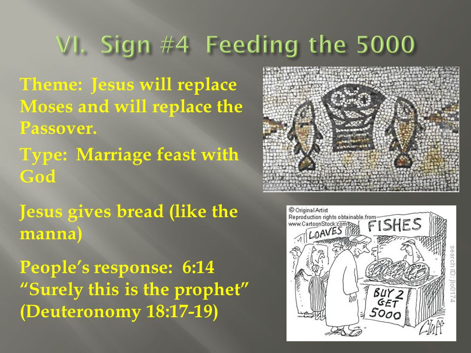 Theme: Jesus will replace Moses and will replace the Passover. Type: Marriage feast with God Jesus gives bread (like the manna) People's response: 6:1