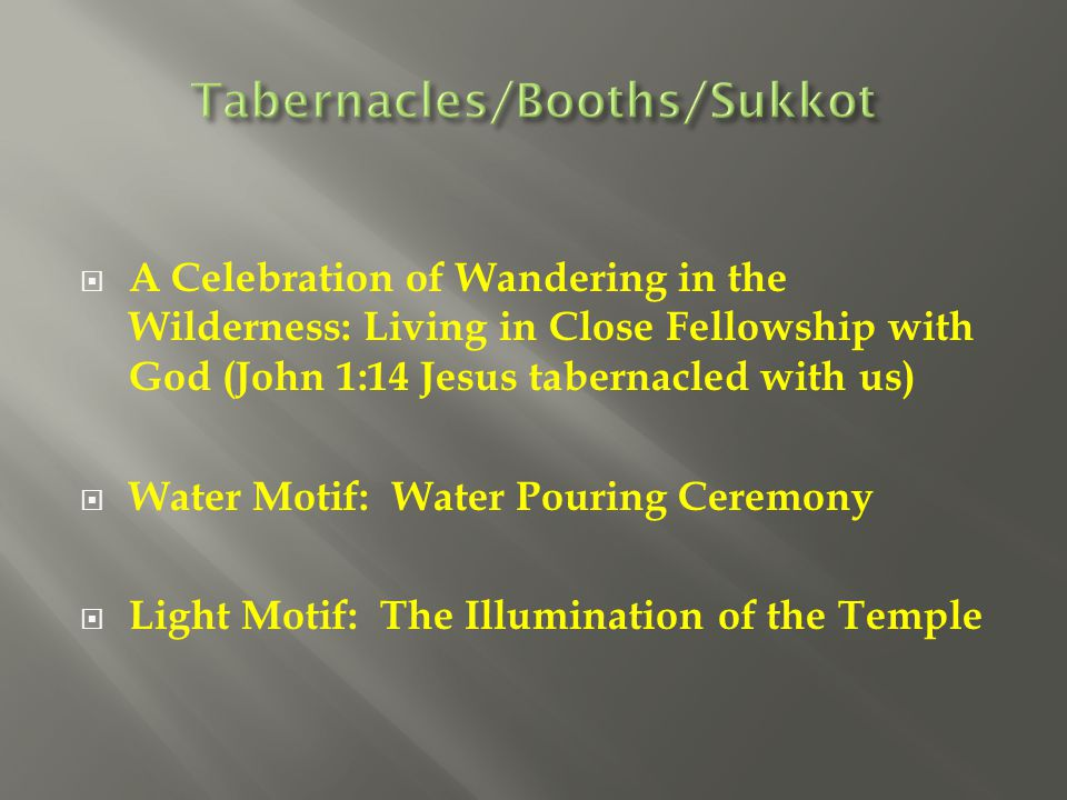 A Celebration of Wandering in the Wilderness: Living in Close Fellowship with God (John 1:14 Jesus tabernacled with us)  Water Motif: Water Pouring