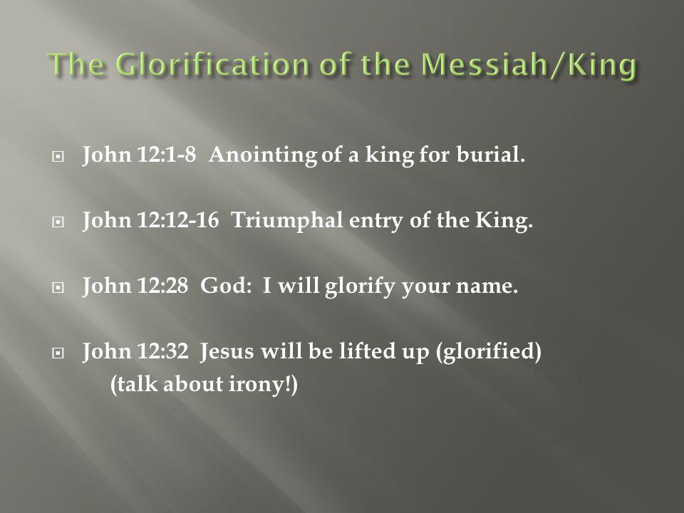  John 12:1-8 Anointing of a king for burial.  John 12:12-16 Triumphal entry of the King.  John 12:28 God: I will glorify your name.  John 12:32 Je