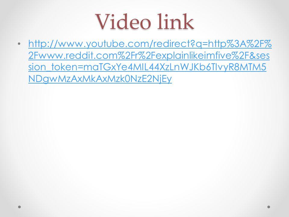 Video link http://www.youtube.com/redirect?q=http%3A%2F% 2Fwww.reddit.com%2Fr%2Fexplainlikeimfive%2F&ses sion_token=maTGxYe4MIL44XzLnWJKb6TIvyR8MTM5 NDgwMzAxMkAxMzk0NzE2NjEy http://www.youtube.com/redirect?q=http%3A%2F% 2Fwww.reddit.com%2Fr%2Fexplainlikeimfive%2F&ses sion_token=maTGxYe4MIL44XzLnWJKb6TIvyR8MTM5 NDgwMzAxMkAxMzk0NzE2NjEy
