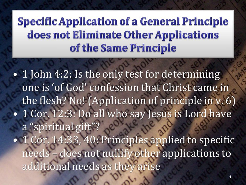 1 John 4:2: Is the only test for determining one is 'of God' confession that Christ came in the flesh.