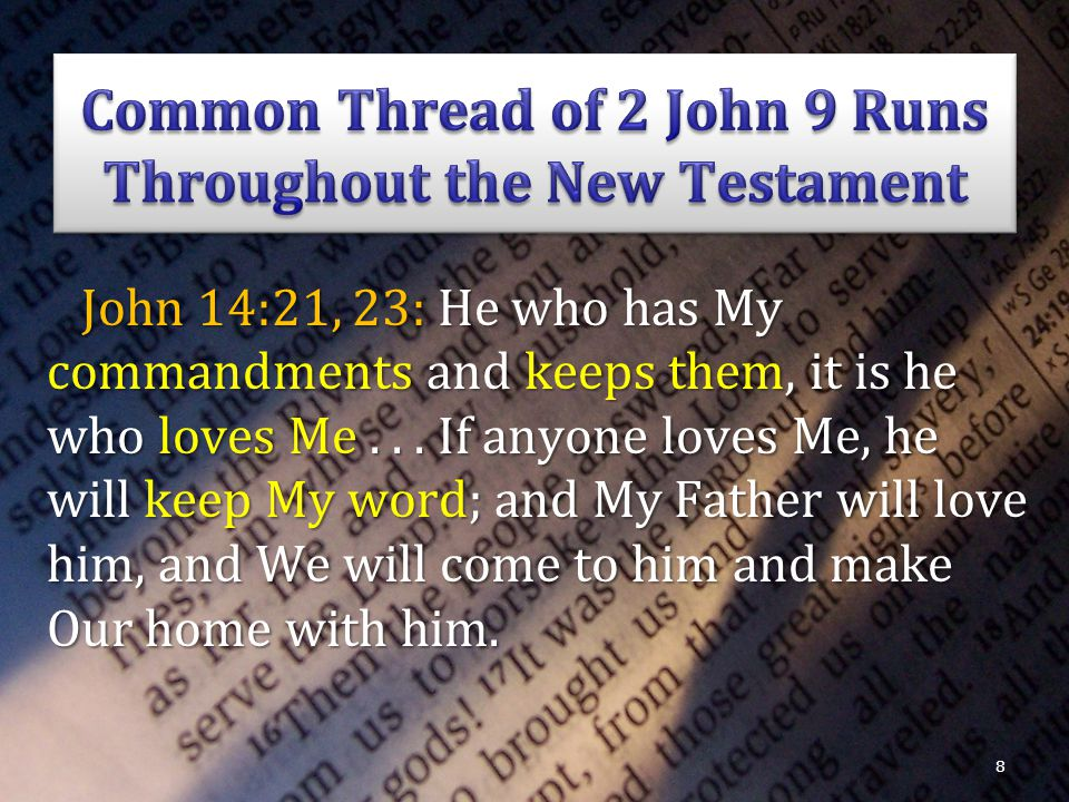 John 14:21, 23: He who has My commandments and keeps them, it is he who loves Me...