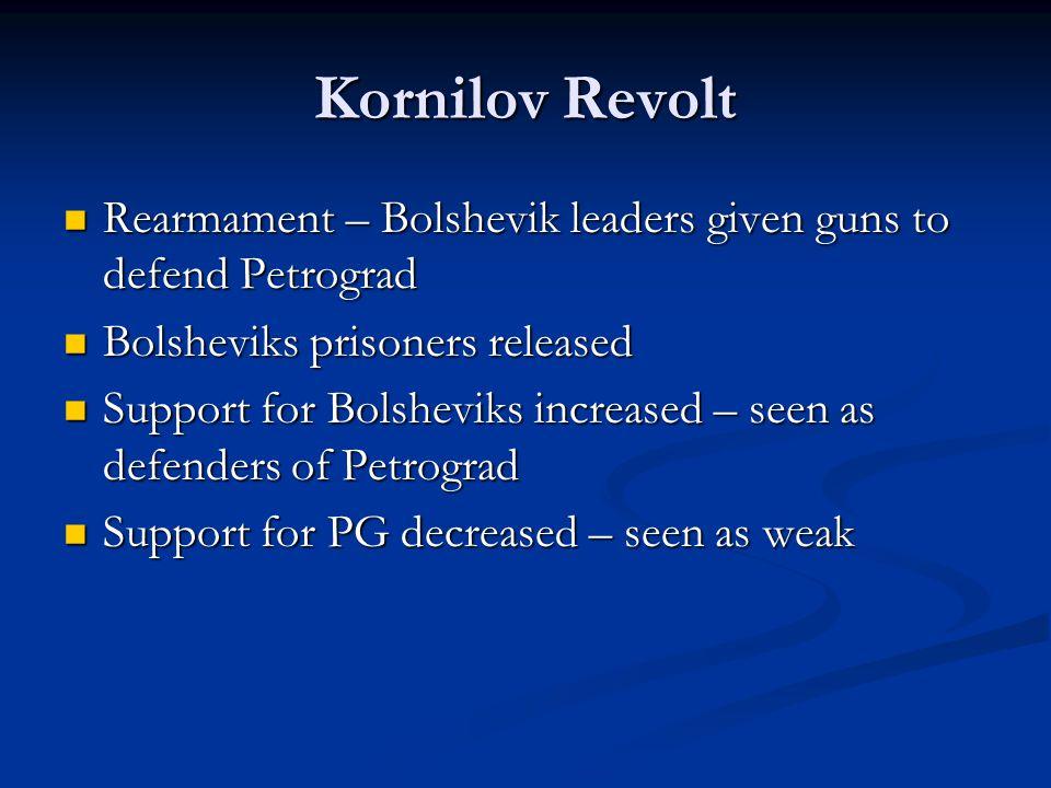Kornilov Revolt Rearmament – Bolshevik leaders given guns to defend Petrograd Rearmament – Bolshevik leaders given guns to defend Petrograd Bolsheviks