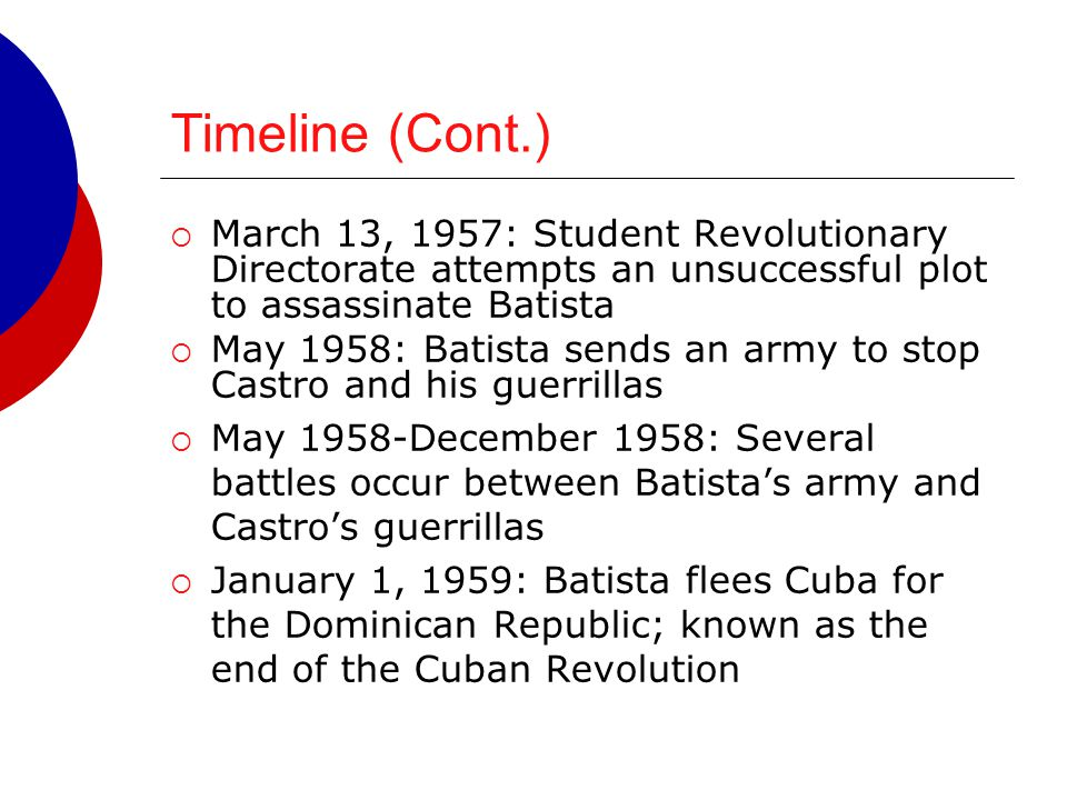 Timeline (Cont.)  March 13, 1957: Student Revolutionary Directorate attempts an unsuccessful plot to assassinate Batista  May 1958: Batista sends an