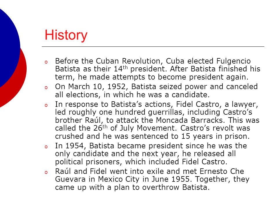 History Will Absolve Me: Conclusion This speech was made by Fidel Castro before his sentencing for his attack on the Moncada Barracks.