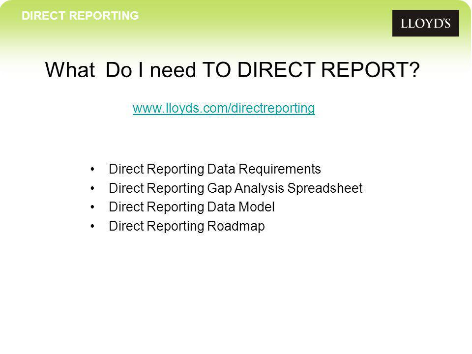 DIRECT REPORTING