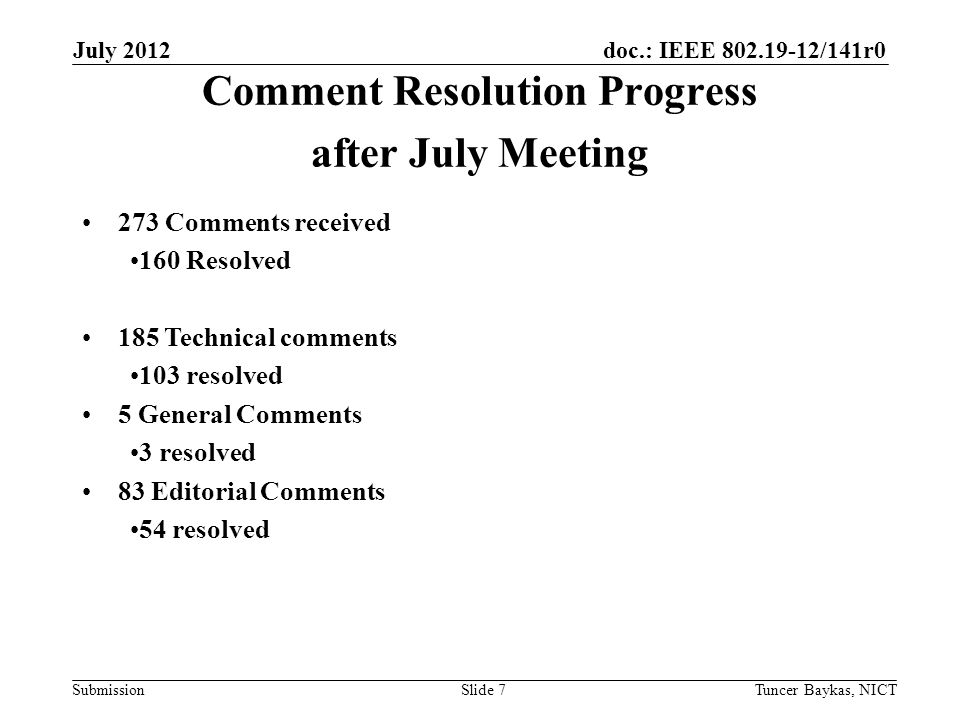 doc.: IEEE 802.19-12/141r0 Submission July 2012 Tuncer Baykas, NICTSlide 8 Teleconference Schedule