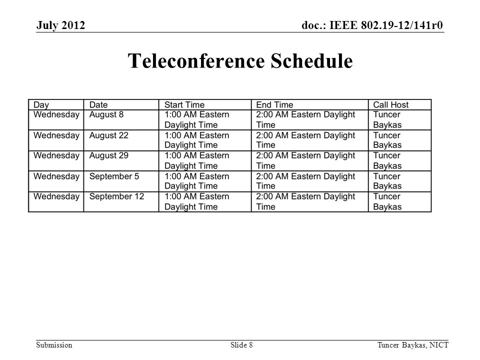 doc.: IEEE /141r0 Submission July 2012 Tuncer Baykas, NICTSlide 8 Teleconference Schedule