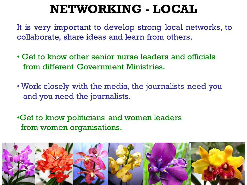 It is very important to develop strong local networks, to collaborate, share ideas and learn from others.