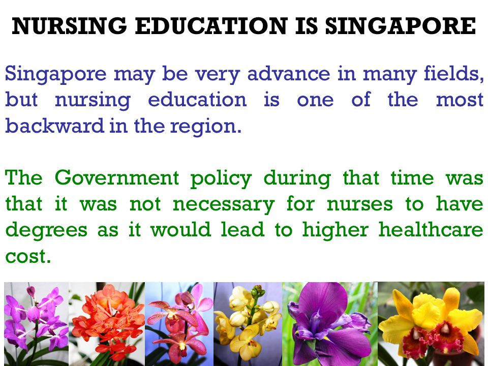 NURSING EDUCATION IS SINGAPORE Singapore may be very advance in many fields, but nursing education is one of the most backward in the region.
