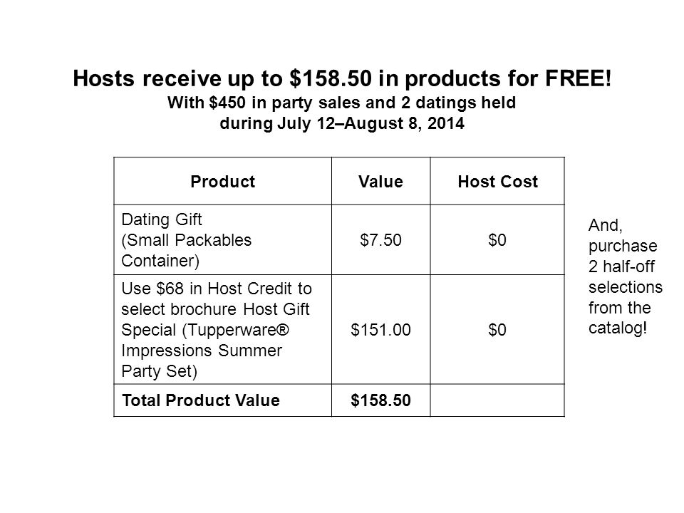 Hosts receive up to $158.50 in products for FREE.