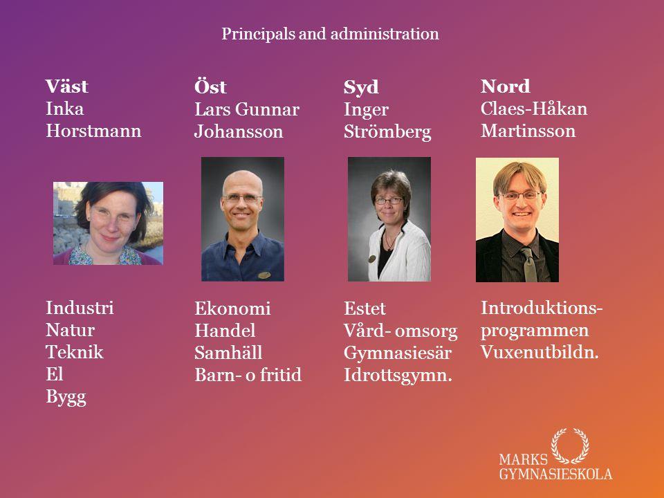 Principals and administration Nord Claes-Håkan Martinsson Introduktions- programmen Vuxenutbildn.