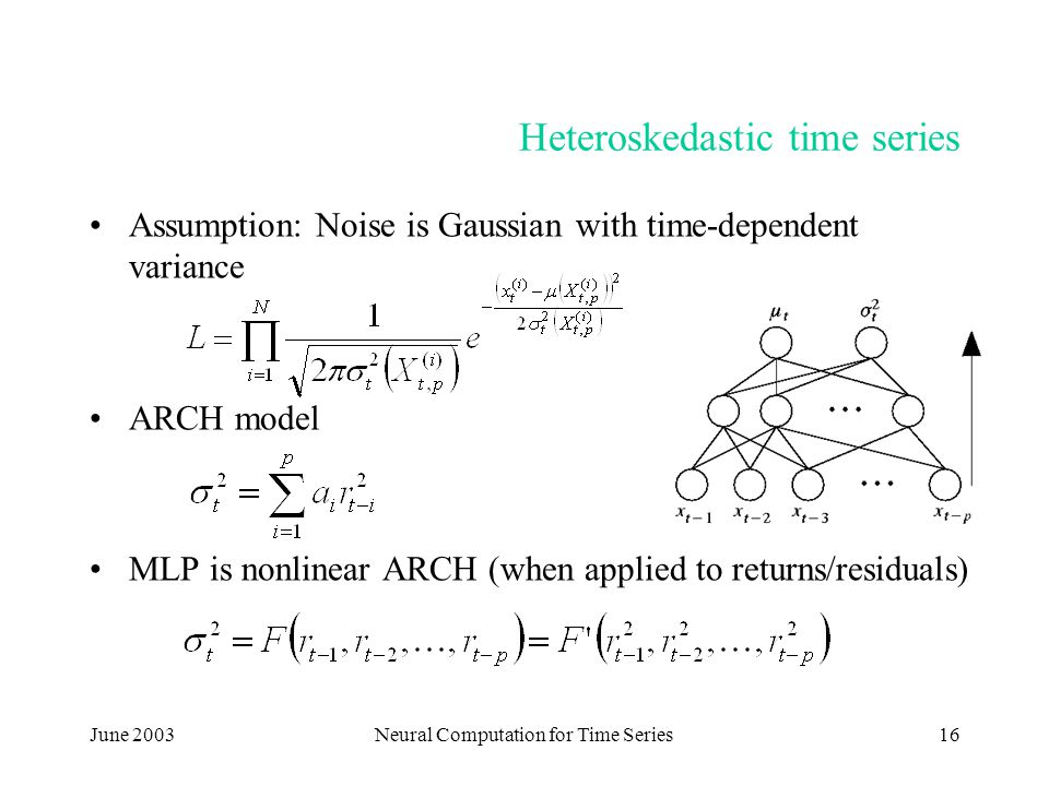 June 2003Neural Computation for Time Series16 Heteroskedastic time series Assumption: Noise is Gaussian with time-dependent variance ARCH model MLP is nonlinear ARCH (when applied to returns/residuals)