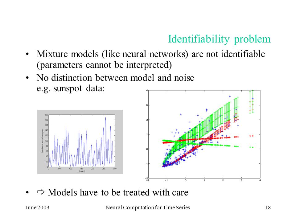 June 2003Neural Computation for Time Series18 Identifiability problem Mixture models (like neural networks) are not identifiable (parameters cannot be