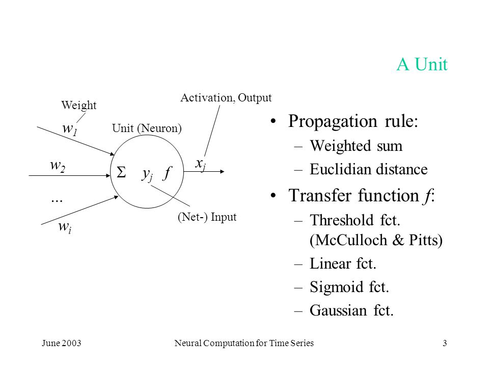 June 2003Neural Computation for Time Series3 A Unit Propagation rule: –Weighted sum –Euclidian distance Transfer function f: –Threshold fct.