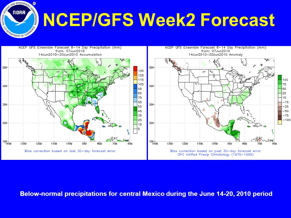 NCEP/GFS Week2 Forecast Below-normal precipitations for central Mexico during the June 14-20, 2010 period