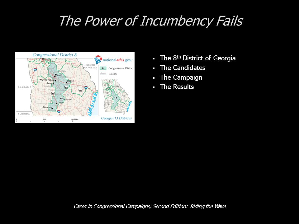 Cases in Congressional Campaigns, Second Edition: Riding the Wave The Power of Incumbency Fails  The 8 th District of Georgia  The Candidates  The Campaign  The Results