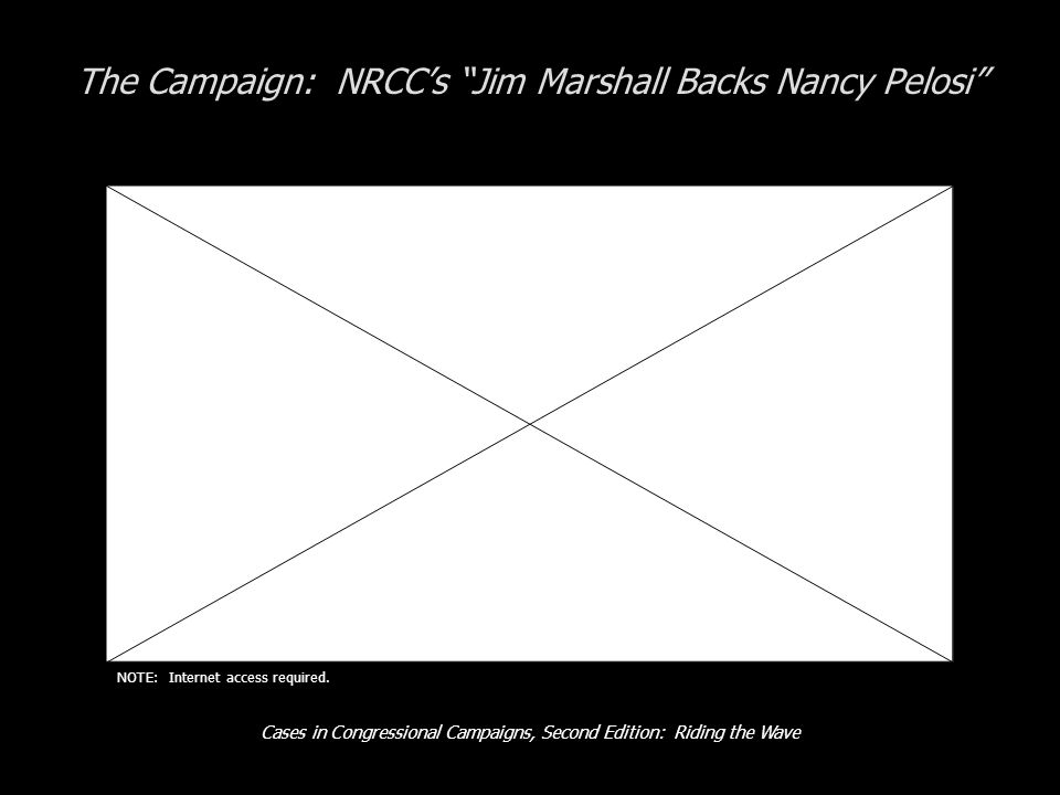 Cases in Congressional Campaigns, Second Edition: Riding the Wave The Campaign: NRCC's Jim Marshall Backs Nancy Pelosi NOTE: Internet access required.