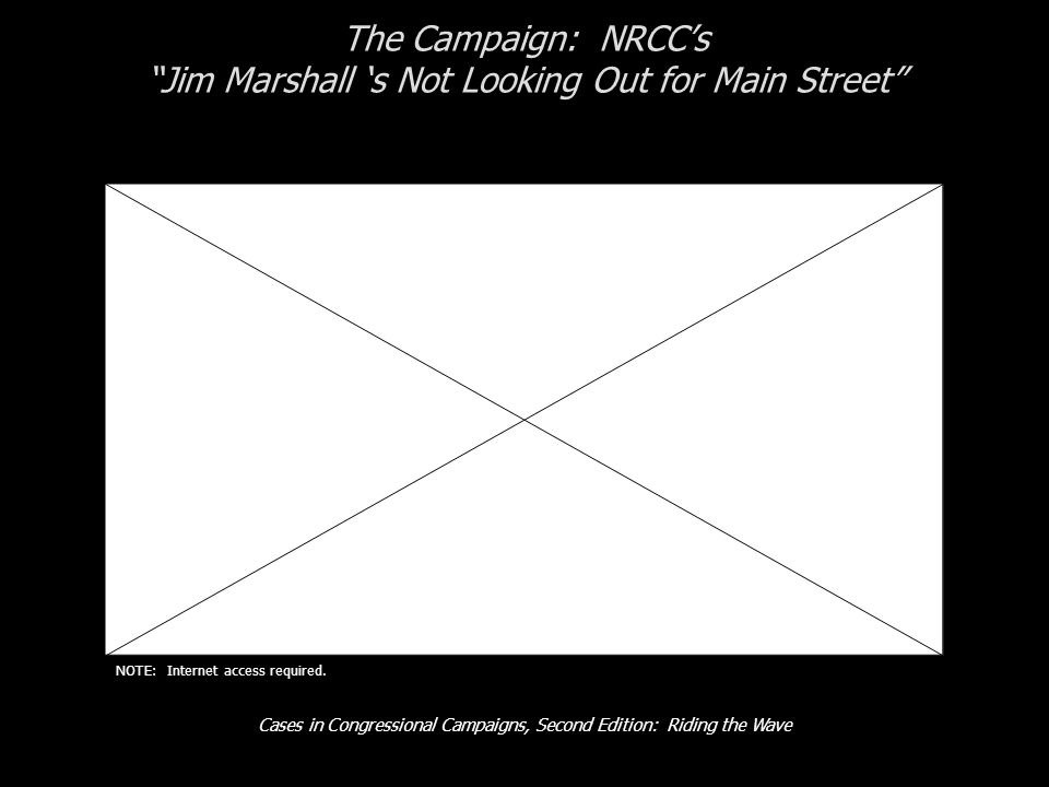 Cases in Congressional Campaigns, Second Edition: Riding the Wave The Campaign: NRCC's Jim Marshall 's Not Looking Out for Main Street NOTE: Internet access required.