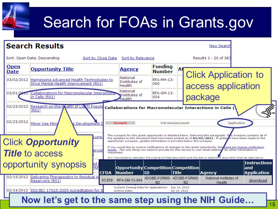 15 Search for FOAs in Grants.gov Click Opportunity Title to access opportunity synopsis Click Application to access application package Now let's get to the same step using the NIH Guide…