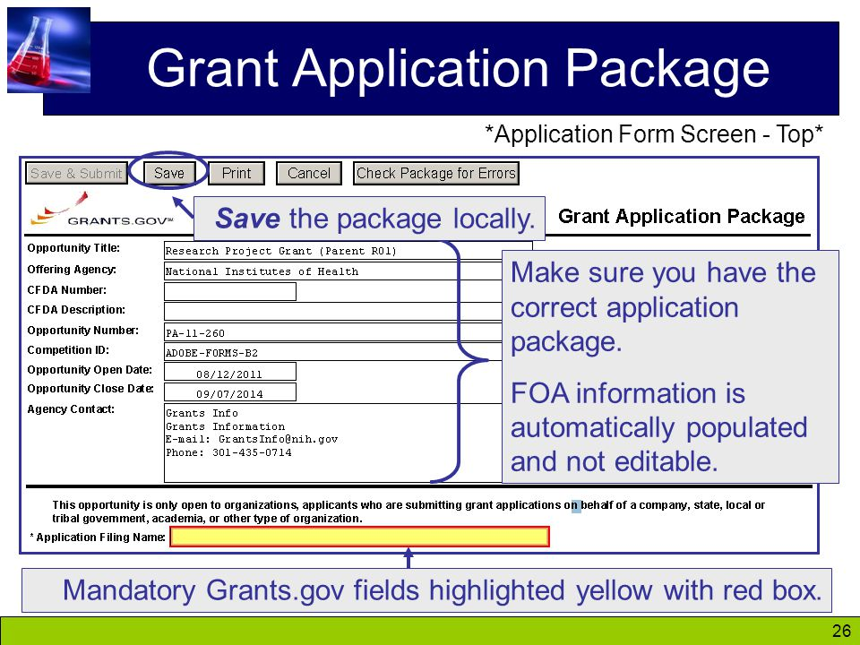 26 Grant Application Package Make sure you have the correct application package.