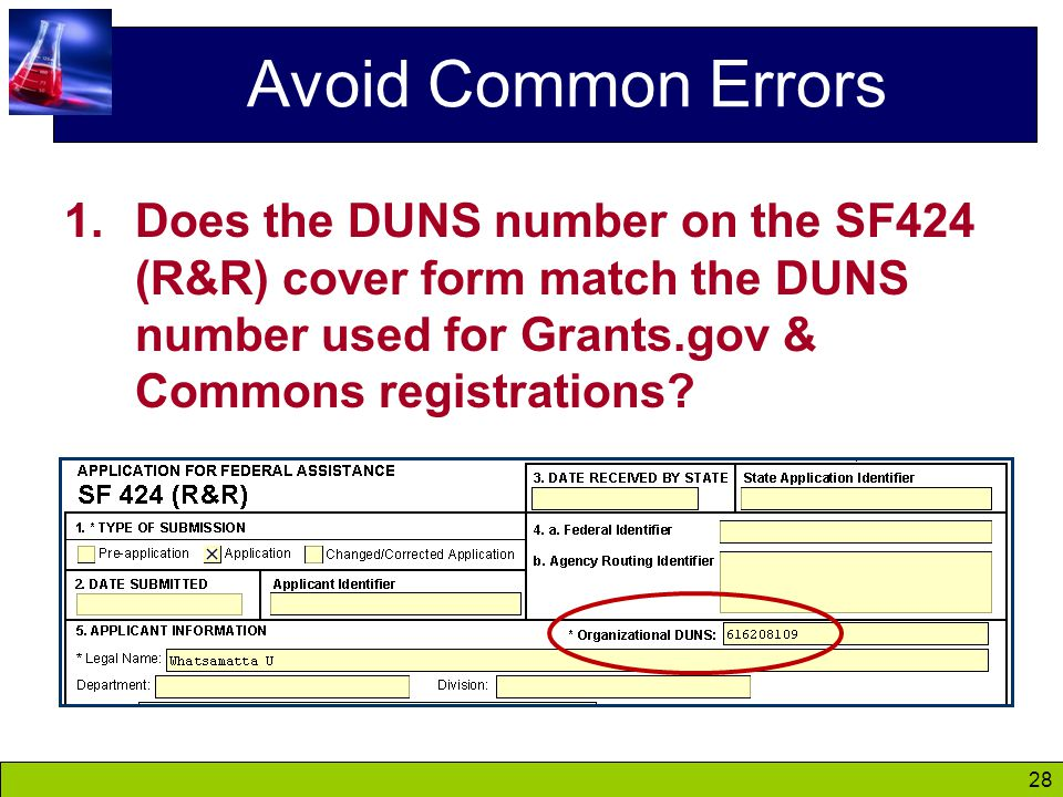 28 Avoid Common Errors 1.Does the DUNS number on the SF424 (R&R) cover form match the DUNS number used for Grants.gov & Commons registrations?