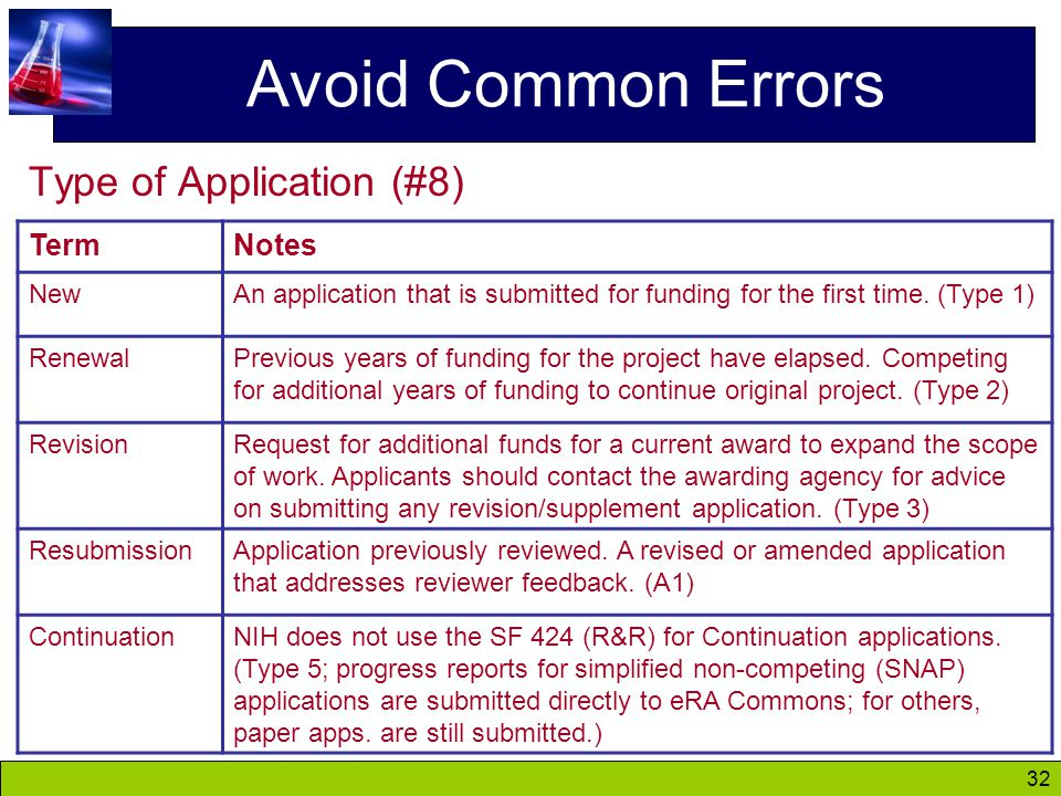 32 Avoid Common Errors Type of Application (#8) TermNotes NewAn application that is submitted for funding for the first time.