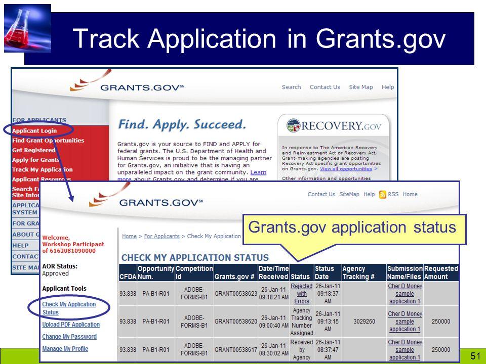 51 Track Application in Grants.gov Grants.gov application status