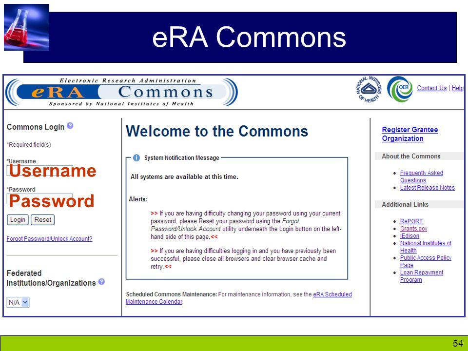 54 eRA Commons Username Password