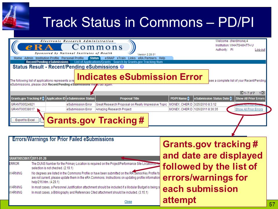 57 Track Status in Commons – PD/PI Grants.gov tracking # and date are displayed followed by the list of errors/warnings for each submission attempt Indicates eSubmission Error Grants.gov Tracking #