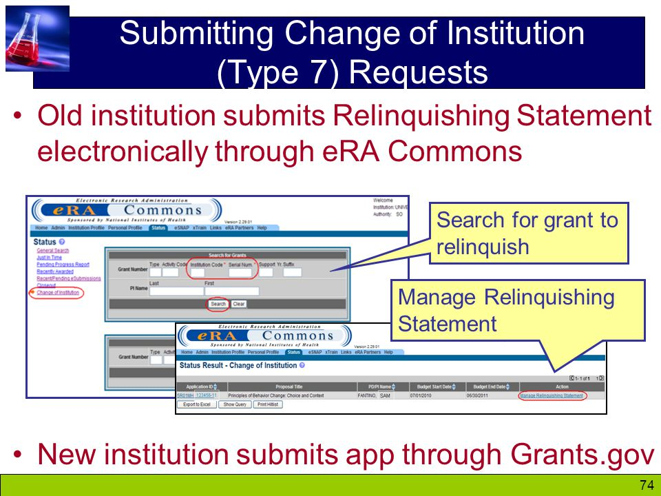 74 Submitting Change of Institution (Type 7) Requests Old institution submits Relinquishing Statement electronically through eRA Commons New institution submits app through Grants.gov Search for grant to relinquish Manage Relinquishing Statement