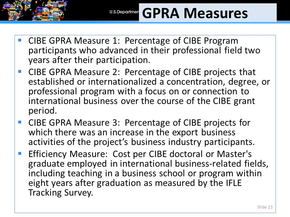  CIBE GPRA Measure 1: Percentage of CIBE Program participants who advanced in their professional field two years after their participation.