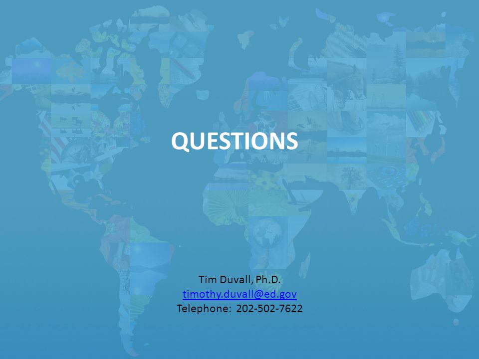 QUESTIONS Tim Duvall, Ph.D. Telephone: