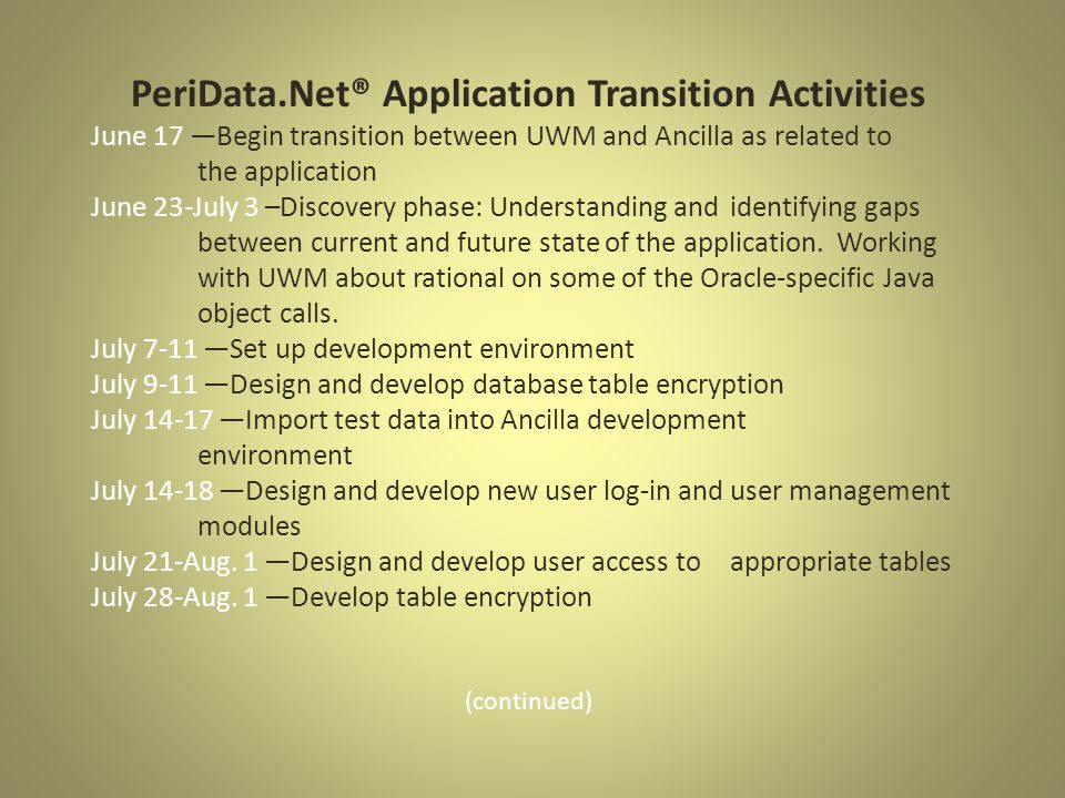 PeriData.Net® Application Transition Activities June 17 —Begin transition between UWM and Ancilla as related to the application June 23-July 3 –Discovery phase: Understanding and identifying gaps between current and future state of the application.
