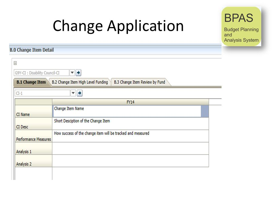 Change Application