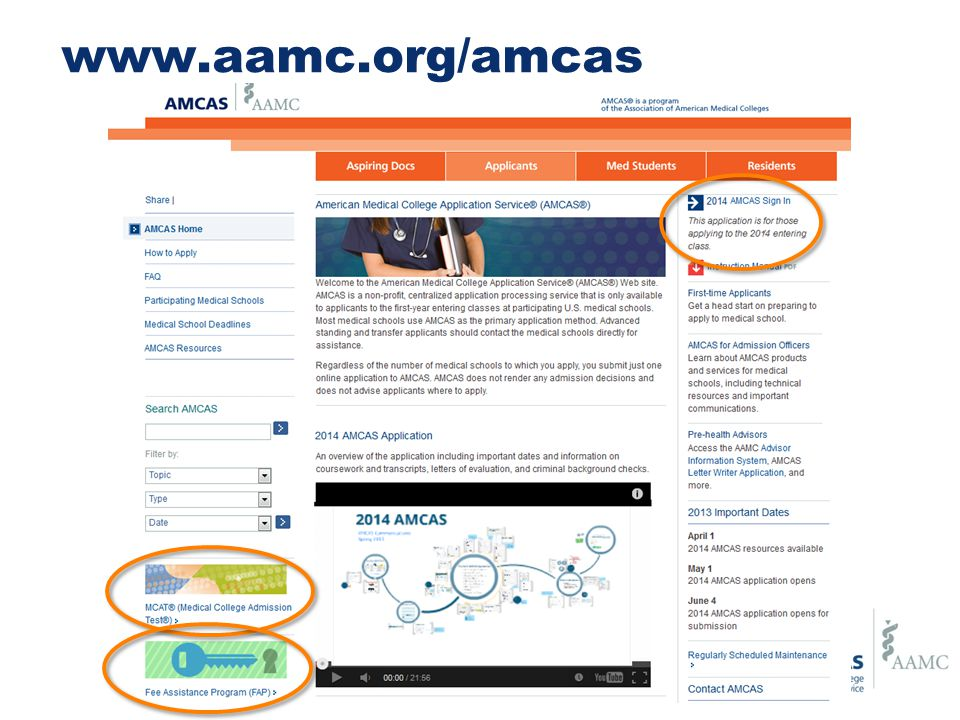The AMCAS Application Identifying Information Schools Attended Biographic Information Course Work Work/Activities Letters of Evaluation Medical Schools Essay(s) Standardized Tests